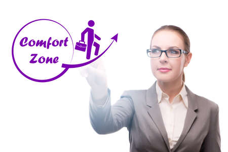 Businesswoman in the concept of stepping out of comfort zone Stock Photo