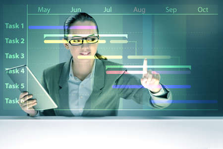 Businesswoman in project management concept Imagens