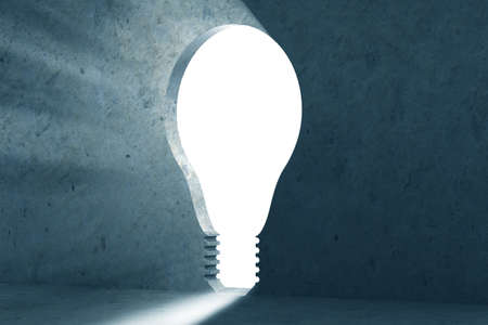 New idea concept with lightbulb shaped hole in the wall- 3d rendering Banque d'images