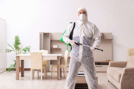 Young male contractor doing pest control at home Reklamní fotografie