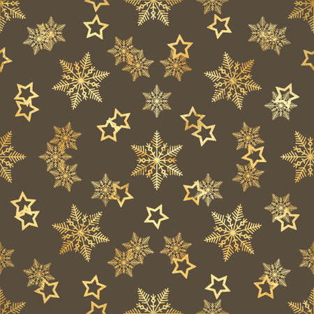 Gold stars and gold snowflakes pattern.