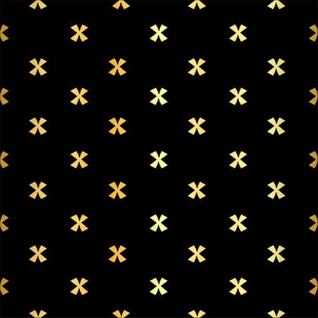 X cross geometric pattern. Simple subtle seamless black and golden background.