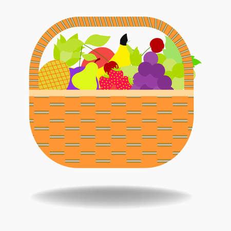 Fruit basket icon apple, orange, bananas, pear and blueberry . vector illustration of basket full of fresh fruit  イラスト・ベクター素材