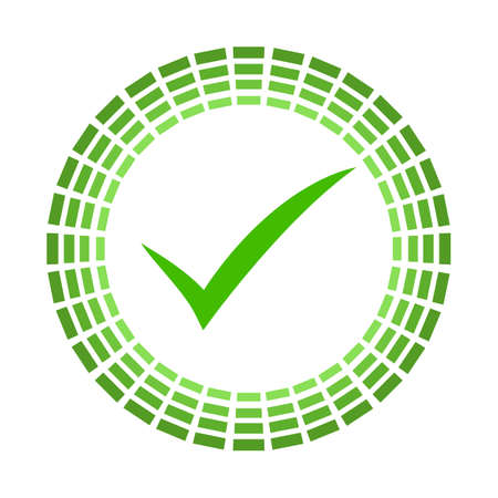 Ok icône vecteur icône bicolore arrondie. Le style d'image est un symbole d'icône plate à l'intérieur d'un cercle, des couleurs vertes éco, un fond blanc.