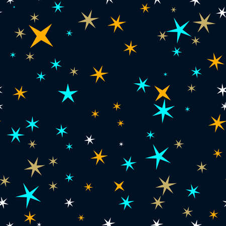 Star sky seamless vector pattern. Colorful stars seamless illustration. 向量圖像