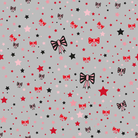 Illustration of a seamless pattern with bows and stars Illustration