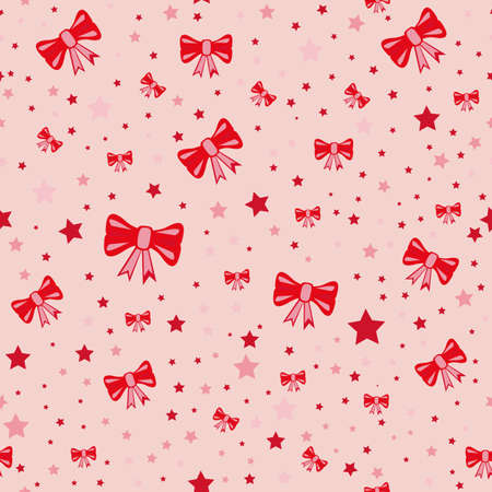 Vector seamless retro pattern, with bow tie and star Illustration