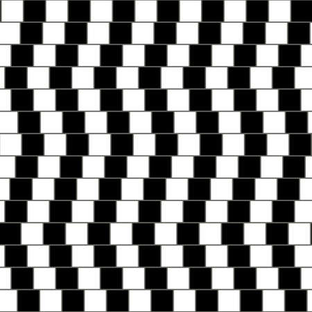 Illusory monochrome background with mosaic of squares. Seamlessly repeatable black and white pattern. Çizim