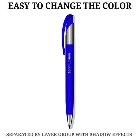 Vector business pen. Blue isolated. Height quality