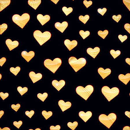 Seamless pattern with golden hearts. Vector illustration. 矢量图像