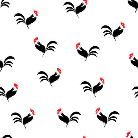 Rooster seamless pattern silhouettes isolated white color on black. Symbol of New Year 2017 by Chinese calendar Illustration