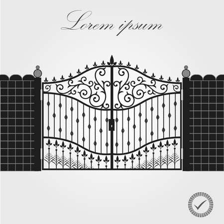 Forged gate. Architecture detail. Decorative wrought fences and gates vector set. Black gate fence frame illustration. Vector EPS10. Ilustracja