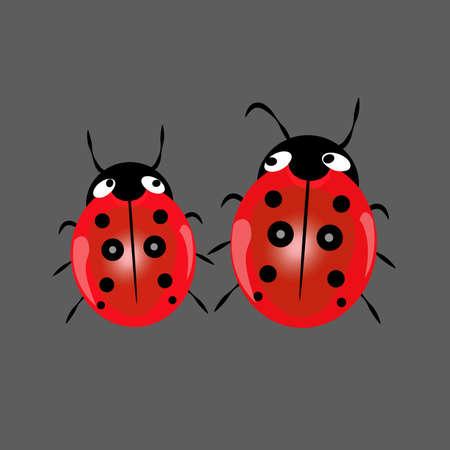 Cute ladybugs vector icon.