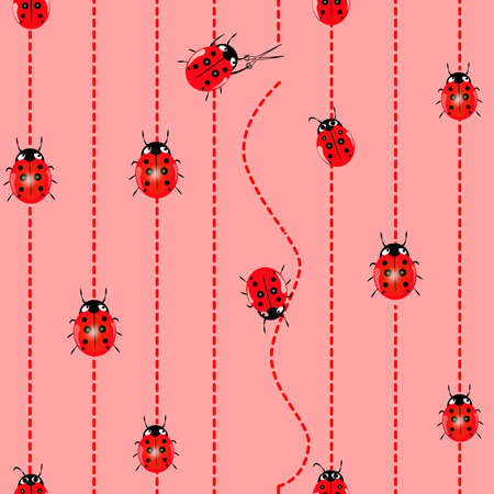 ladybug seamless pattern. Seamless vector pattern with insects, chaotic background with bright close-up ladybugs, over light backdrop 矢量图像