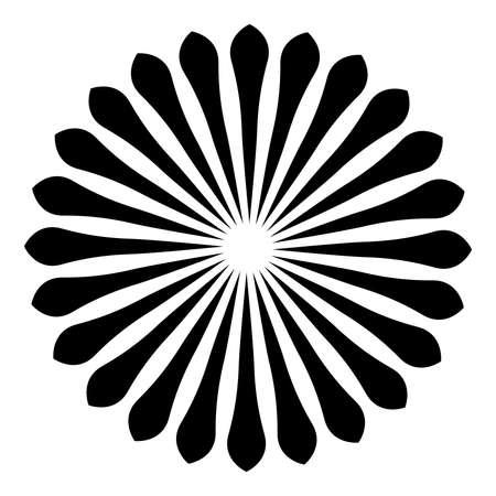 Rays, beams element. Sunburst, starburst shape on white. Radiating, radial, merging lines. Abstract circular geometric shape.