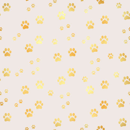 Gold Paw print seamless pattern. Seamless pattern of animal gold footprints. Dog paw print seamless pattern on gold background