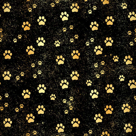 Gold paw print seamless pattern of animal gold footprints. Dog paw print seamless pattern on gold background.
