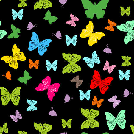 Vector seamless colorful butterflies pattern illustration. Illustration