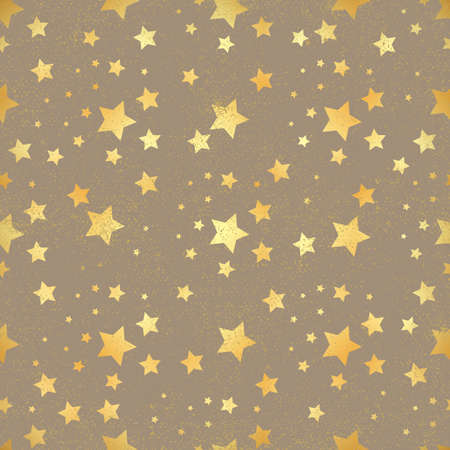 Gold star seamless pattern. Abstract dark modern seamless pattern with gold confetti stars. Shiny background. Texture of gold foil.