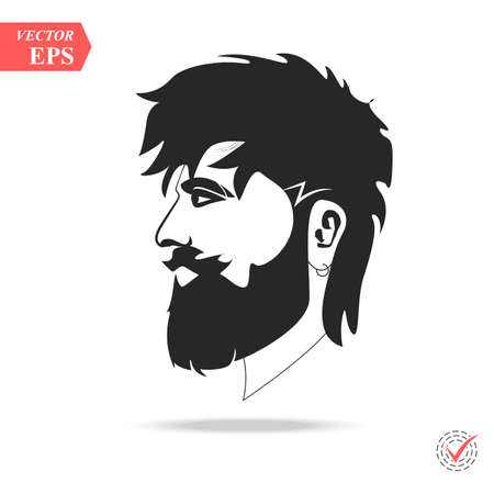 Hipster Black and White, Hairstyle. vector illustration eps