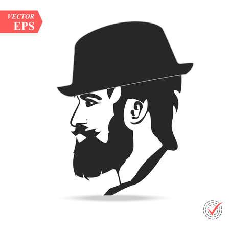 Vector portrait of serious bearded man wearing hat looking away. 矢量图片