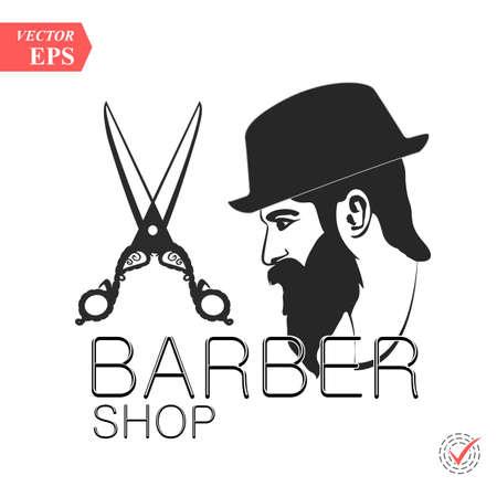 Barbershop hairstyle man label logo illustration eps