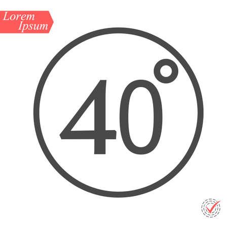 40 degrees icon,vector illustration. Flat design style. vector 40 degrees illustration isolated on White background Illustration