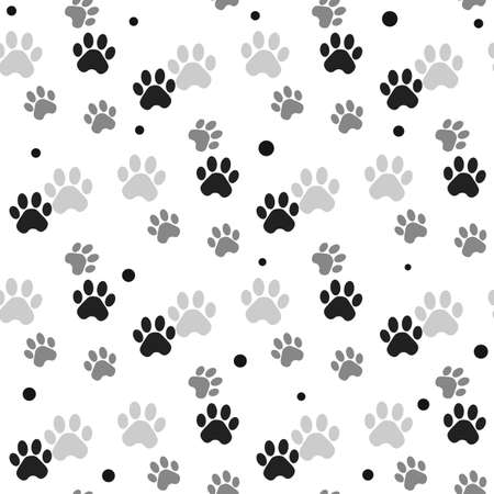 Paw print seamless. Traces of Cat Textile Pattern. Cat footprint seamless pattern. Vector seamless