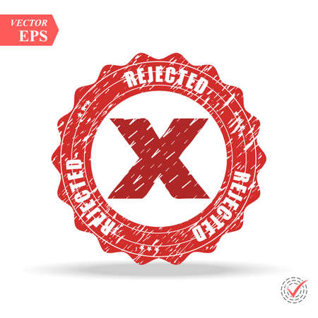 Designed for web and software interfaces. Rejected. stamp. red round grunge vintage rejected sign eps