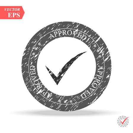 Circle shape OK button for vote, decision, web. Symbol of correct, check, approved Vector illustration Çizim