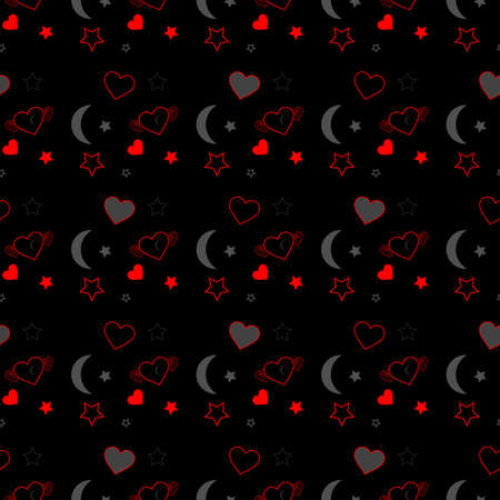Seamless pattern of red hearts and stars with gray moon on black background.