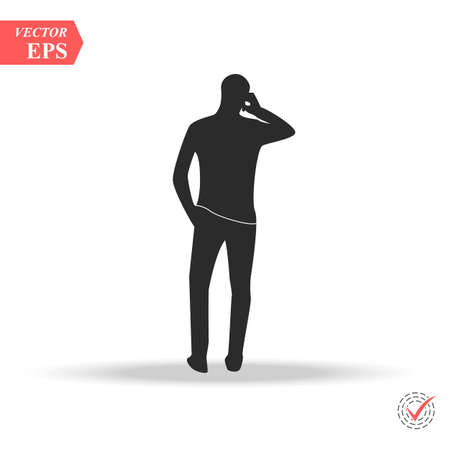 Brunette man in casual clothing standing backwards with phone isometric projection vector isolated on white.