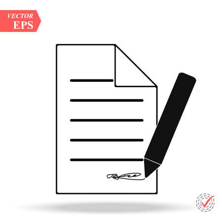 Document With Pencil Icon on white background. Stock Illustratie