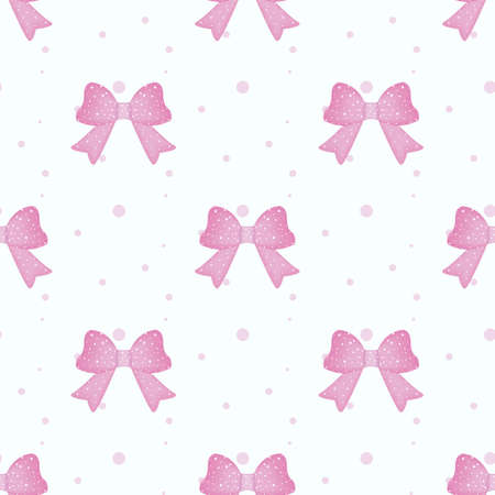 Pink ribbon and bow grid seamless pattern background isolated on white background.