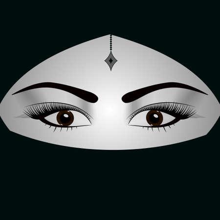 Beautiful dark eyed woman in traditional middle eastern niqab veil Stok Fotoğraf - 100315296