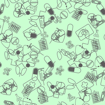 Vector line art seamless pattern with science and education symbols and design elements. Research, technologies and innovation concept.