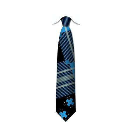 Tartan, Plaid, checkered silk tie template. Easy editable colors - vector illustration.