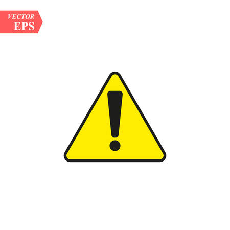 Black hazard warning attention sign with exclamation mark on white