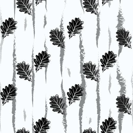 vector repeating seamless pattern with oak leaves