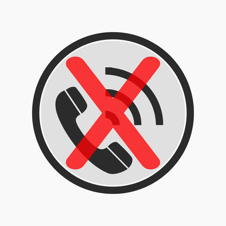 Prohibiting the use of a mobile phone. Vector sign illustration on a white background.