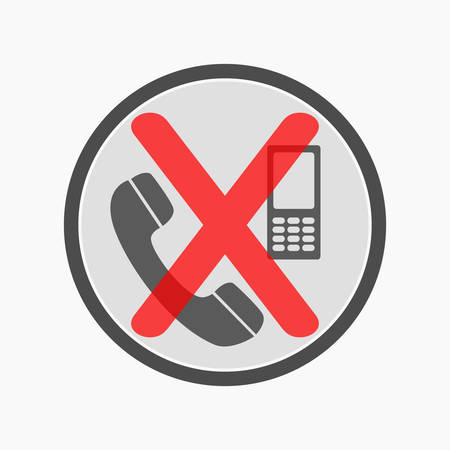 NO CELL PHONEs allowed crossed out sign. Mobile phone silhouette with buttons and antenna. Vector icon.
