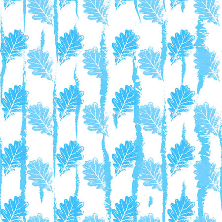 Seamless pattern with contour lacy light blue leaves trees on a white background