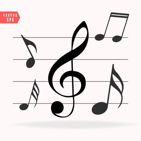 Musical notes on Scale. Music note icon set.