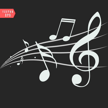 Ornamental music notes with swirls on black