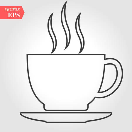Coffee cup line icon, outline vector sign, linear pictogram isolated on white. Symbol, logo illustration