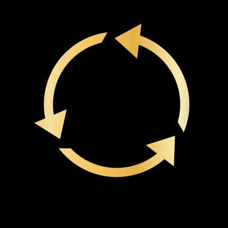 Flèche de recyclage d'or. Pictogramme d'illustration moderne simple plat
