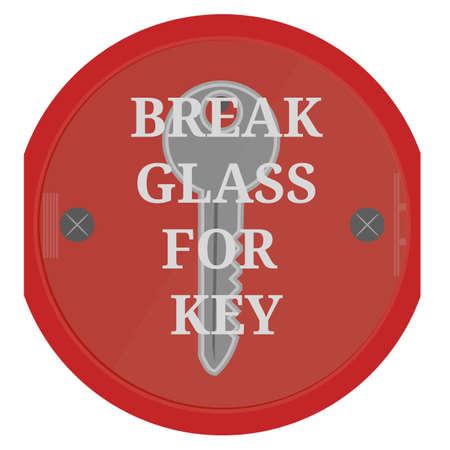 Break glass for key on white background.