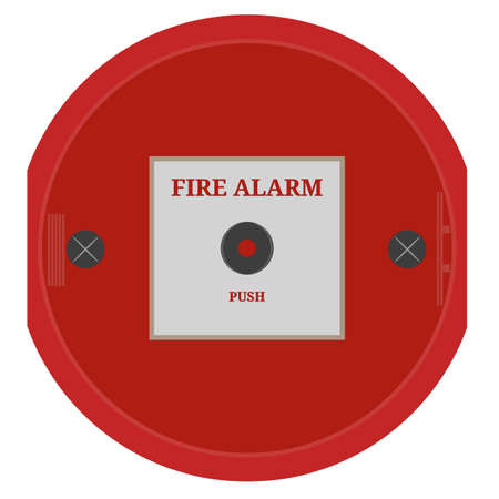 Fire alarm vector. Red Fire alarm on white wall