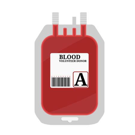 Bolsa de sangre con etiqueta y texto sangre entera aislado sobre fondo blanco. Ilustración de vector