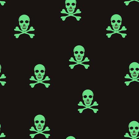 Vector seamless pattern with skulls and bones. Illustration